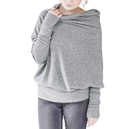 Clearance!Napoo Women Pile Collar Batwing Sleeve Back Button Gray Blouse (XL, Gray)