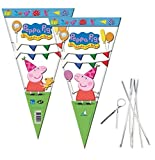 30 Cone Party Cello Bags - Sweet Candy Cones - Birthday Gift Favours Bag with TIES (Peppa Pig) by Playwrite