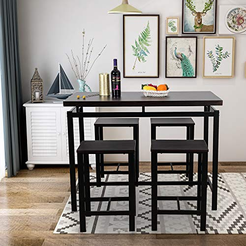 GLCHQ 5 Piece Pub Table Set, Dining Height Table Perfect for bar, Kitchen, Breakfast Nook, Dining Room, Living Room Casual Occasions (Black) (Pub For Tables Kitchen)