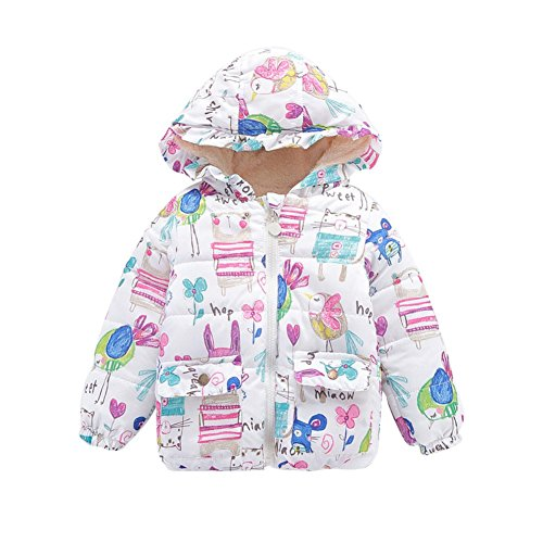 Jlong Baby Girls Winter Warm Soft Cotton Butterfly Long Sleeves Coat Jacket (2-3 Years, Printed White) by Jlong (Image #2)