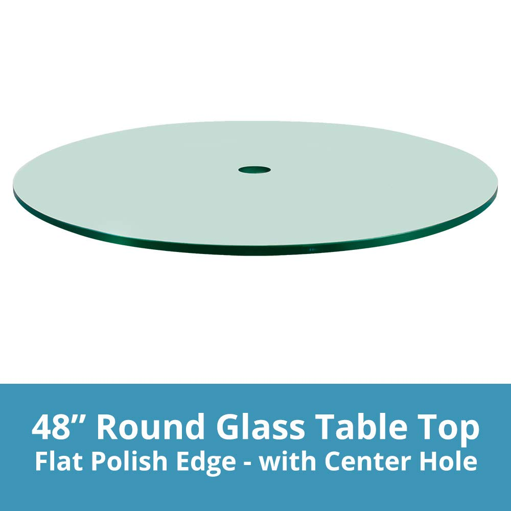 Dulles Glass and MirrorPatio Table Top, 1/4'' Thick, Flat Polish Edge, Tempered with Center Hole, Round, 48'' L
