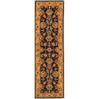 Safavieh Heritage Collection HG343E Handcrafted Traditional Oriental Charcoal and Gold Wool Runner (23 x 8)