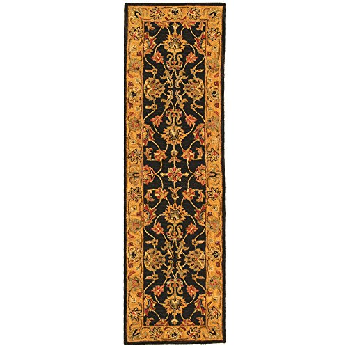 Safavieh Heritage Collection HG343E Handcrafted Traditional Oriental Charcoal and Gold Wool Runner (2'3'' x 14') by Safavieh