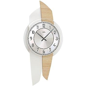 AMS 9496 Wanduhr Wohnzimmer Uhr Holz Modern Quarzwerk Geruschlos Arm Hnge Dekouhr Mit Aluminium