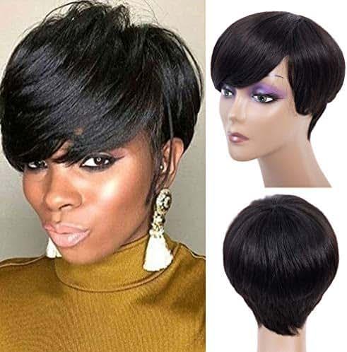 Short Human Hair Wigs Virgin Human Hair Short Pixie Cut Wigs Short Hair Wigs for Women Short Black Wig