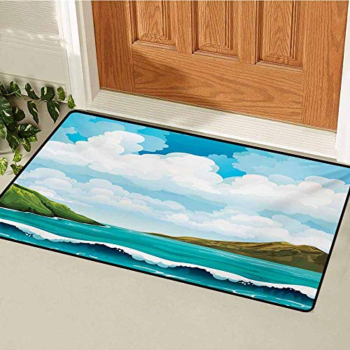GUUVOR Sea Welcome Door mat Seascape with Waves Islands and Cloudy Blue Sky Tranquil Exotic Shores Cartoon Style Door mat is odorless and Durable W19.7 x L31.5 Inch Multicolor