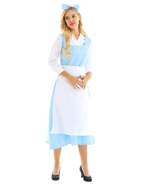 YiZYiF Vestido Princesa Azul Mujer Disfraz Halloween Wendy ...