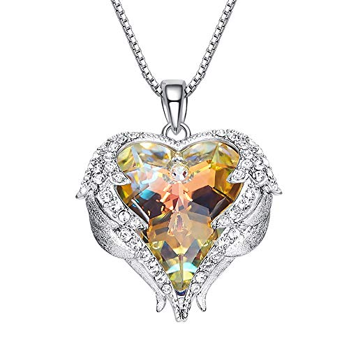 Quaanti 2018 Romantic Heart Design Colorfull Rhinestone Fashion Classic Luxury Rhinestones Crystal Pendants Necklace for Women Bridal Jewelry (Multicolor)