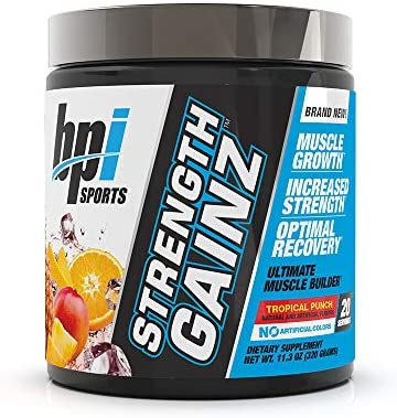 BPI Sports Strength Gainz Best Pre Post Workout Muscle, Recovery, Endurance Creatine, Dextrose, Peak O2, Amino 9, Himalayan Pink Salt for Men Women Tropical Punch 20 Servings 11.3 Oz