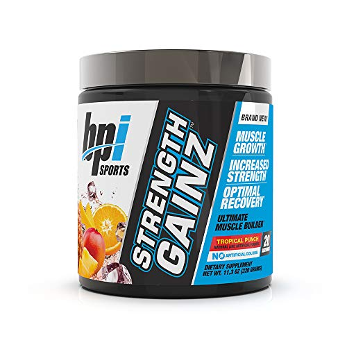 BPI Sports Strength Gainz - Best Pre & Post Workout - Muscle, Recovery, Endurance - Creatine, Dextrose, Peak O2, Amino 9, Himalayan Pink Salt - for Men & Women -Tropical Punch- 20 Servings - 11.3 oz.