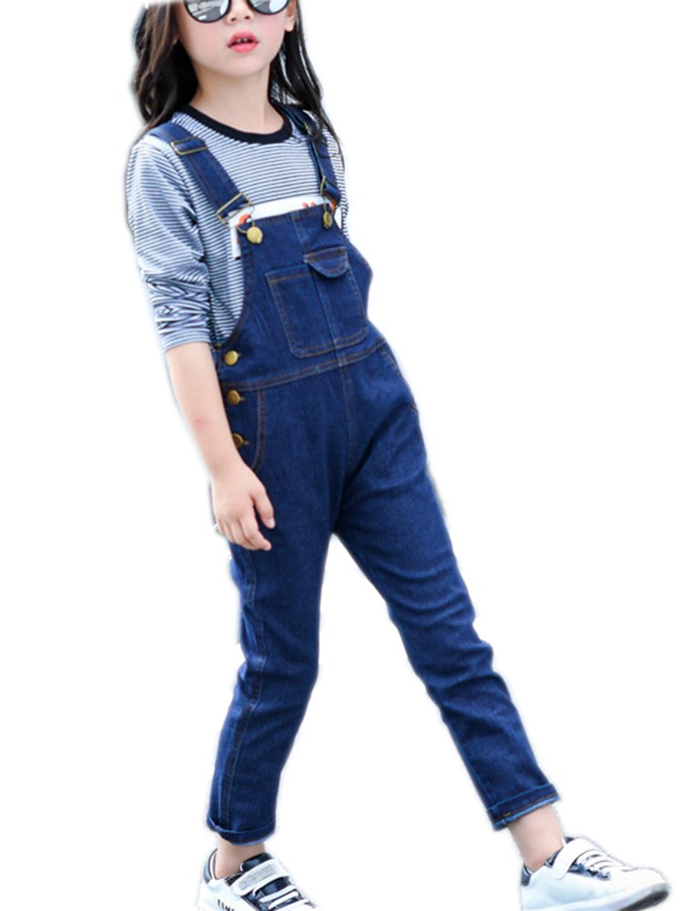 Sitmptol Girls Big Kids Jumpsuits Strap Jeans Cotton Denim Bib Overalls Dark Blue 150
