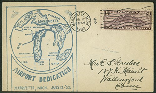 Airport Dedication Marquette MI Air Mail postal cover 1932 stamp inverted -