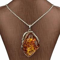 Nongkhai shop VTG Lady Silver Plated Big Drop Resin Amber Chain Pendant Necklace