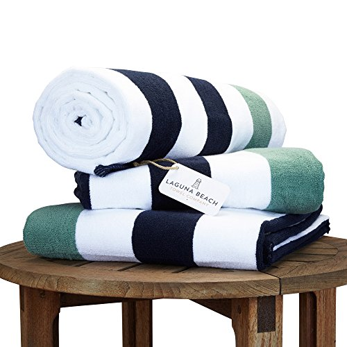 (Oversize Plush Cabana Towel by Laguna Beach Textile Co | Navy and Seafoam Green| 1 Classic, Beach and Pool House Towel)