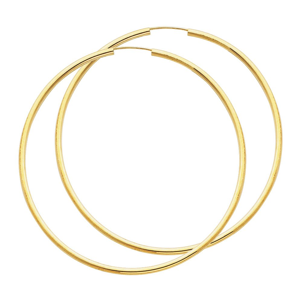 14k Yellow Gold 2mm Thickness Endless Hoop Earrings (65 x 65 mm)