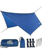 Pro Venture [12 FT Hex] Waterproof Hammock RAIN Fly - Portable Large Rain Tarp - Premium Lightweight Ripstop Nylon - Fast Set Up - Hammock Camping Essential! 12FT x 9FT HEX Shape