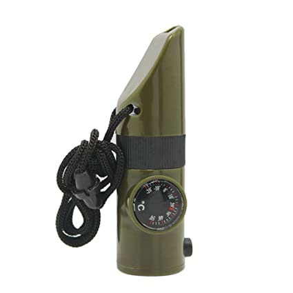 Survival Emergency 4 in 1 Whistle Compass Thermometer Magnifier Camping s