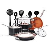 Gotham Steel 15-Piece Titanium & Ceramic Nonstick Copper Frying Pan and Cookware Set – Includes 5 Utensils