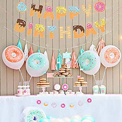 CupaPlay Donut Party Supplies - Donut Happy Birthday Banner - Donut Themed Party Tea Party Kids Birthday Baby Shower Wall Decoration: Toys & Games