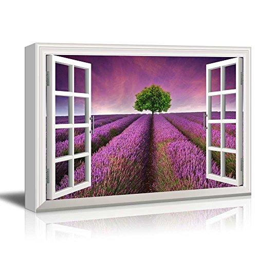 Creative Window View Tree on a Purple Filed