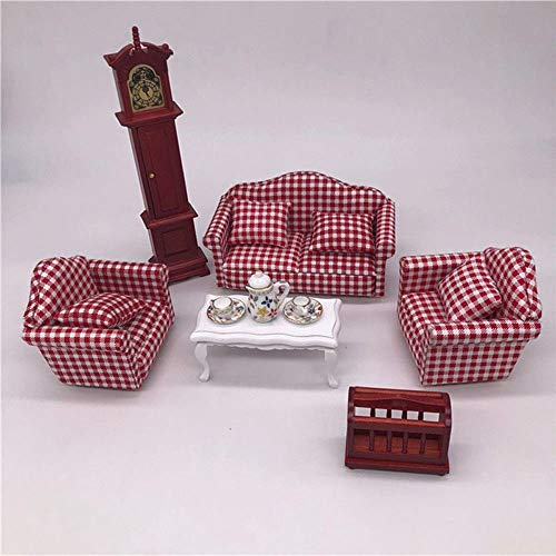 Furniture Sofa Couch Tea Table Miniatures For 1/12 Dolls House Living Room Model from Brosco