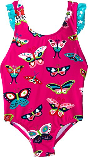 Hatley Little Girls Electric Butterflies Ruffle Swimsuit, Pink, 4