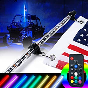Xprite 6ft (1.8M) LED Whip Lights Remote Controlled RGB 20 Static Colors Flag Pole Safety Antenna for Offroad Jeep Sand Dune Buggy UTV ATV Polaris RZR ...