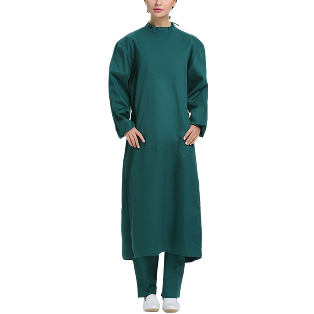 Pinji Scrub Gown Semi-coated Cotton Surgical Clothes High Temperature Resistance Workwear for Hospital Green(Women) XL by Pinji