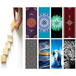 "Eco Fuse Yoga Mat By Nalahome-72""x26""x3mm Thick Natural Rubber And Microfiber hand aranging wood block stacking as step sta For All Yoga Practices, Bikram, Hatha, Ashtanga, Hot Yoga, Home Workout"