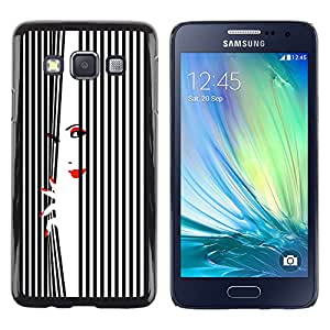 TopCaseStore / la caja del caucho duro de la cubierta de protección de la piel - Woman Lips Nails Red White Black - Samsung Galaxy A3 SM-A300