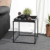 FurnitureR Mesa Auxiliar y Mesa de Centro Cuadrada de Metal Completo en la Sala de Estar y la Cocina Negro