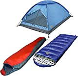 High Peak USA Alpinizmo Kodiak 20 + Lite Pak 20 sleeping bag with Monodoem 3 tent combo, Blue/Red, One Size