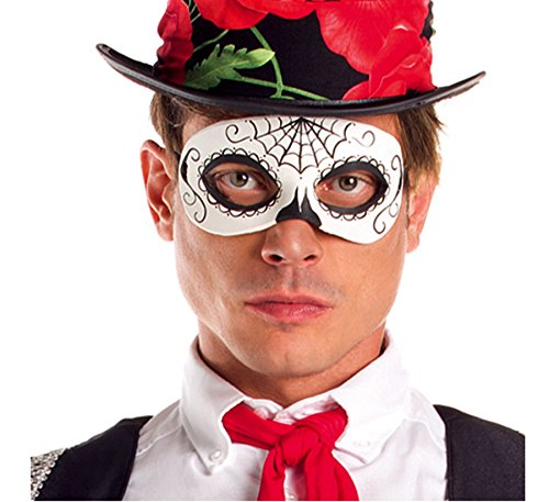 Party King Men's Day of The Dead Senor Mask Costume Accessory, Black/White, One (Day Of The Dead Senor Adult Costumes)
