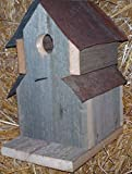 Amish Handcrafted One-hole - Two Roof Tin Barnwood Bird House. Birdhouse Is Crafted From Reclaimed Barnwood and Original Vintage Barn Tin Roof. A Cozy Resting Place for Your Feathered Friends.