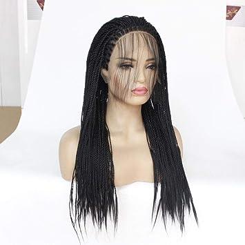 Cabello trenzas peluca larga negro 14 pulgadas densidad pelucas ...
