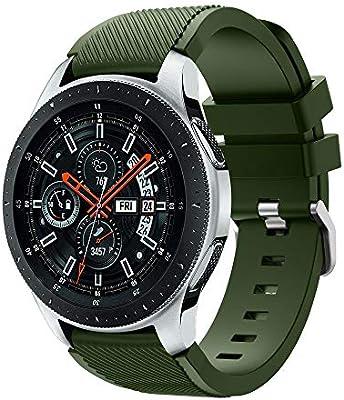 Gusspower Correa de Reloj para Samsung Galaxy Watch 46mm, Pulsera de Silicona 22mm Watchband Repuesto de Correa (Verde del ejército)