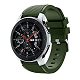 Polwer Replacement Bands Compatible for Samsung Galaxy Watch 46mm, Fashion Soft Silicone Watch Band Smartwatch Strap Wristband Accessories for Women and Men (Army Green)