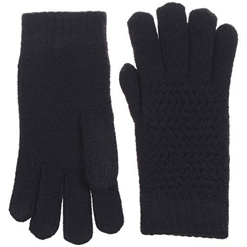 BYOS Womens Winter Ultra Warm Soft Plush Faux Fur Fleece Lined Knit Gloves W/Decorated Cuff (Black Net) by Be Your Own Style (Image #1)'