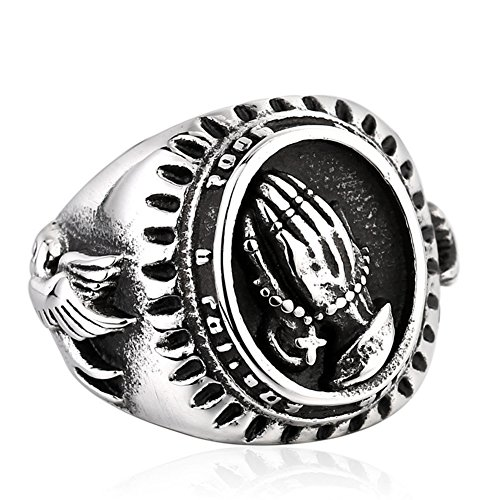 JAJAFOOK Delinquent Men's Silver Stainless Steel Religious Praying Hands Prayer Ring Band