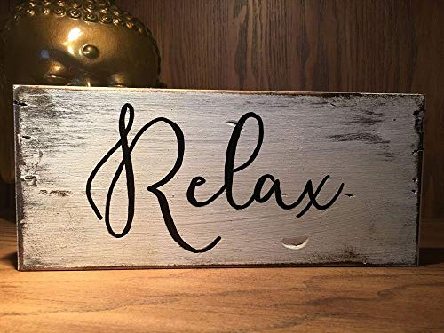 PotteLove Relax, Rustic Wood Sign, Farmhouse Style, Inspirational Quote, Distressed