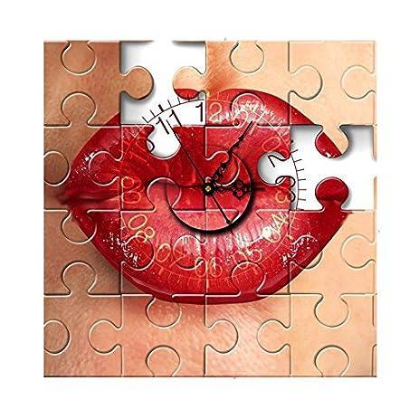 Amazoncom DIY 3D Art Wall Clock Red Mouth 3D Wall Stickers Clock