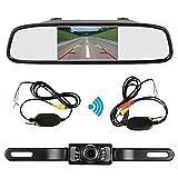 ZSMJ Backup camera Wireless and 4.3inch Mirror Monitor Kit 9V-24V Rear view camera parking system for Car vehicle RV Night Vision Waterproof