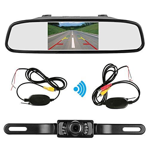 51RXkYi19gL - ZSMJ Backup camera Wireless and 4.3inch Mirror Monitor Kit 9V-24V Rear view camera parking system for Car vehicle RV Night Vision Waterproof