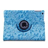 Generic Blue Embossed Flower Pattern PU Leather 360 Degree Rotating Auto Sleep/Wake Function Stand Smart Protective Case Cover for 9.7 inch iPad Air / iPad 5 (2013) with a Stylus as a Gift