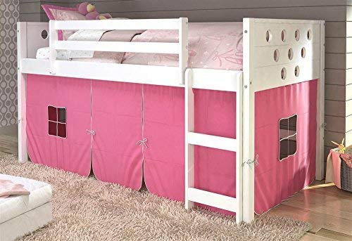 DONCO KIDS 721801 79 in. Twin Circles Low Loft Bed with Pink...
