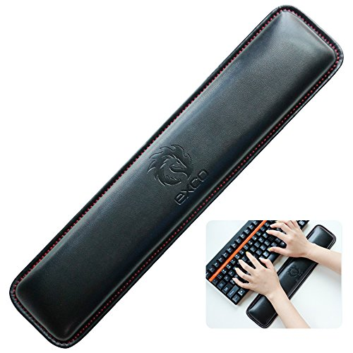 (Short PU Keyboard Wrist Rest Pad-Exco Wrist Rests,Memory Foam Non Slip Black PU Leather Palm Support Wrist Pad Wrist Cushion for Laptops/Notebooks/MacBooks//PC/Computer)