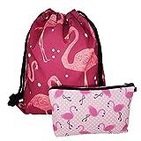 Jom Tokoy Drawstring Bag Flamingo Bags Set of 2 Make Up Bags (Flamingo-p) Review