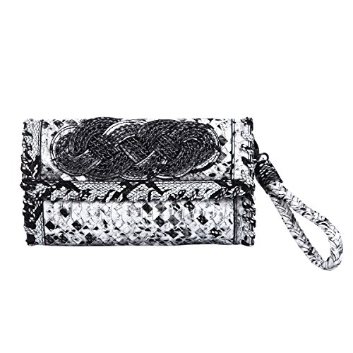 Premium PU Leather Snake Print Interlace Braided Clutch Bag Wristlet, Snake Black