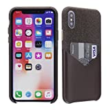 for iPhone X Wallet Case,Cassenger Soft Fabric Slim Fit Hard Back Case Wallet Cover with Premium PU Leather Credit Card Holder Slot for Apple iPhone X 5.8 inch 2017 (Brown)
