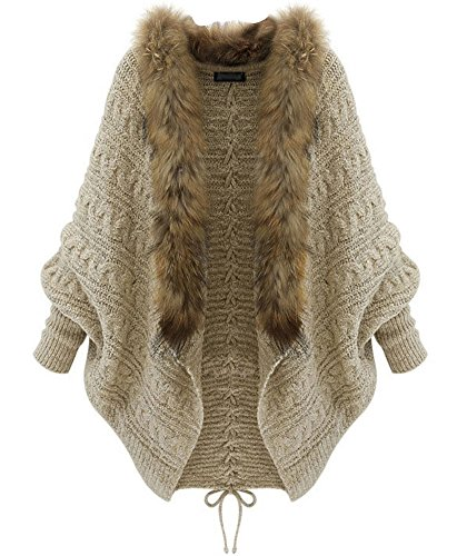 Cyber Monday Womens Loose Fur Collar Bat Sleeves Lace Up Back Knit Cardigan Outwear Apricot